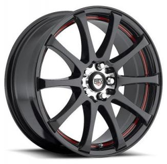 REV WHEELS  FWD 227 MATTE BLACK RIM with RED STRIPE