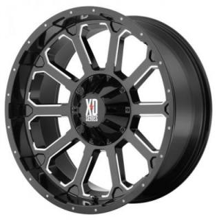 XD SERIES WHEELS  XD806 BOMB GLOSS BLACK RIM with MILLED ACCENTS