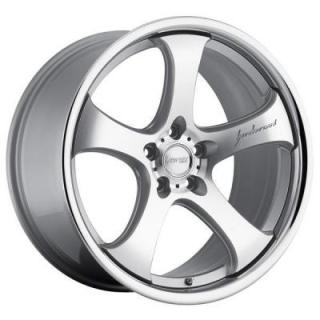 MRR DESIGN WHEELS  CV2 SILVER RIM with MACHINED FACE and CHROME LIP