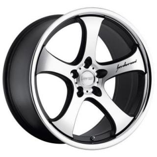 MRR DESIGN WHEELS  CV2 MATTE BLACK RIM with MACHINED FACE and CHROME LIP