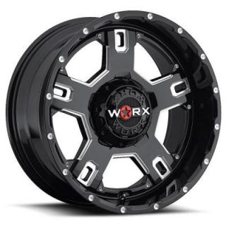 802 HAVOC GLOSS BLACK RIM with MILLED ACCENTS by WORX WHEELS