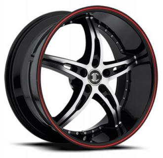 2 CRAVE WHEELS  FIERO N14 BLACK/RED STRIPE RIM