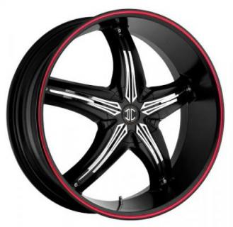 2 CRAVE WHEELS  FIERO N05 GLOSSY BLACK/RED RIM