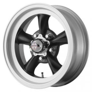 AMERICAN RACING WHEELS  VN105D TORQ THRUST D SATIN BLACK with MACHINED LIP