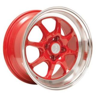 ENKEI WHEELS  J-SPEED RED RIM with MACHINED LIP