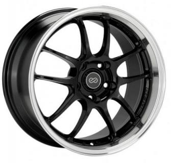 ENKEI WHEELS  PF01SS GLOSS BLACK RIM with MACHINED LIP
