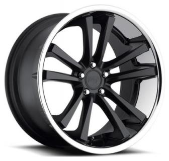 NICHE WHEELS  CONCOURSE M885 MATTE BLACK RIM with CHROME STAINLESS LIP