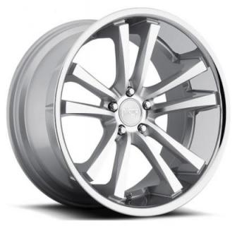 NICHE WHEELS  CONCOURSE M886 SILVER MACHINED RIM with CHROME STAINLESS LIP