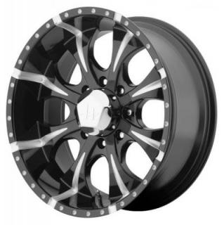 HELO WHEELS  HE791 BLACK RIM with MILLED ACCENTS 8 LUG