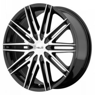HELO WHEELS  HE880 GLOSS BLACK RIM with MACHINED FACE