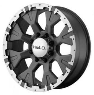 HELO WHEELS  HE878 DARK SILVER RIM with MACHINEd FLANGE