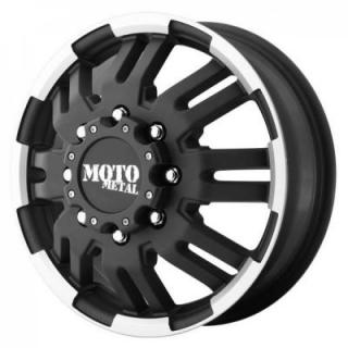 MOTO METAL WHEELS  MO963 DUALLY BLACK RIM with MACHINED ACCENTS FRONT