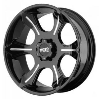 MOTO METAL WHEELS  MO965 GLOSS BLACK RIM with MILLED SPOKES