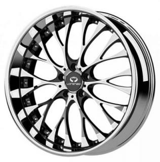 LORENZO WHEELS  WL027 CHROME RIM with GLOSS BLACK WINDOWS