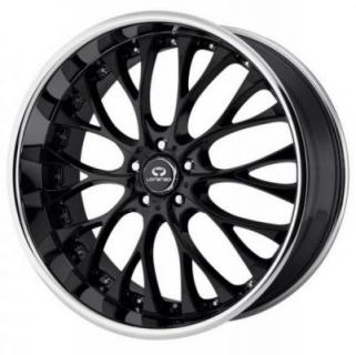 LORENZO WHEELS  WL027 GLOSS BLACK CENTER CHROME LIP
