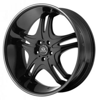 LORENZO WHEELS  WL031 GLOSS BLACK RIM with MACHINED STRIPE