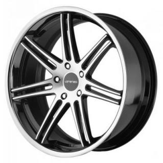 LORENZO WHEELS  WL198 GLOSS BLACK RIM with MACHINED FACE and SS LIP