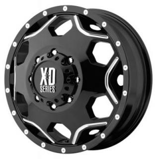 XD SERIES WHEELS  XD814 DUALLY CRUX GLOSS BLACK RIM with MILLED ACCENTS FRONT