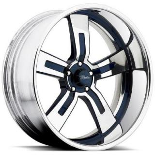 RACELINE WHEELS   ROYALTY 5 BLUE RIM with POLISHED FINISH