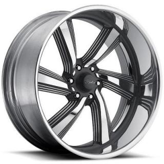 RACELINE WHEELS   EXPLOSION 6 GRAY RIM with POLISHED FINISH