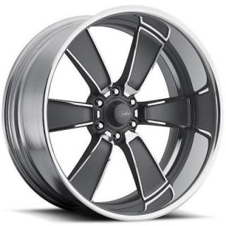 RACELINE WHEELS   BURST 6 GRAY RIM with POLISHED FINISH
