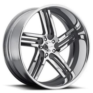 RACELINE WHEELS   MAJESTIC 5 GRAY RIM with POLISHED FINISH