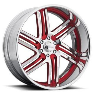 RACELINE WHEELS  MAJESTIC 6 RED RIM with POLISHED FINISH