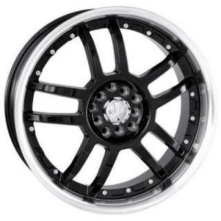 AKITA RACING WHEELS  AK15 BLACK RIM with MACHINED LIP