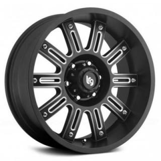 LRG WHEELS  102 APACHE BLACK RIM with MILLED SPOKES