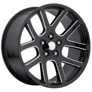 FACTORY REPRODUCTIONS WHEELS  DODGE RAM SRT10 STYLE 60 GLOSS BLACK RIM with MILLED SPOKE