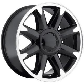 FACTORY REPRODUCTIONS WHEELS  GMC DENALI BLACK RIM with MACHINED FACE