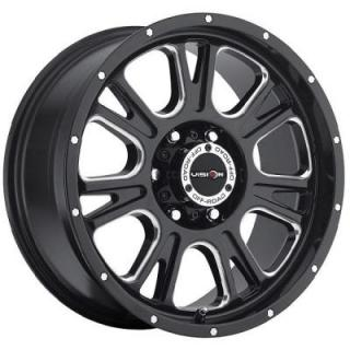 VISION WHEELS  FURY 399 RWD OFF-ROAD GLOSS BLACK RIM with MILLED SPOKES