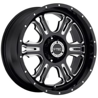 V-TEC WHEELS  RAGE 397 RWD GLOSS BLACK RIM with MILLED ACCENTS
