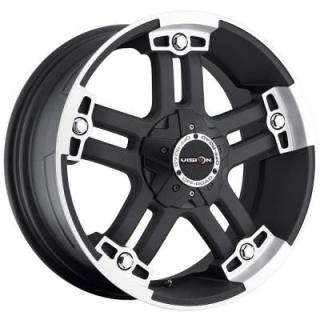 V-TEC WHEELS  WARLORD 394 RWD MATTE BLACK RIM with MACHINED FACE and COVERED CAP
