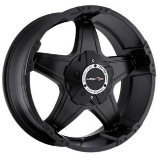 V-TEC WHEELS  WIZARD 395 RWD MATTE BLACK RIM with COVERED CAP