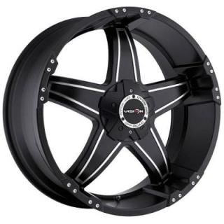 VISION WHEELS  WIZARD 395 RWD OFF-ROAD MATTE BLACK RIM with MACHINED FACE and COVERED CAP
