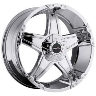 V-TEC WHEELS  WIZARD 395 RWD PHANTOM CHROME RIM with COVERED CAP