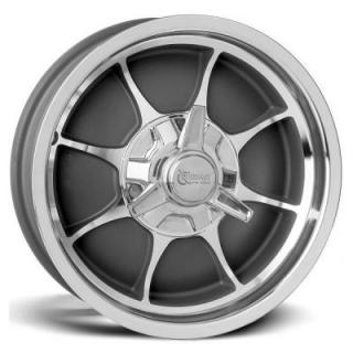 FIRE GRAY CENTER RIM with MACHINED RIB and OUTER by ROCKET RACING WHEELS
