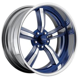 RACELINE WHEELS   BLAST 5 BLUE RIM with POLISHED FINISH
