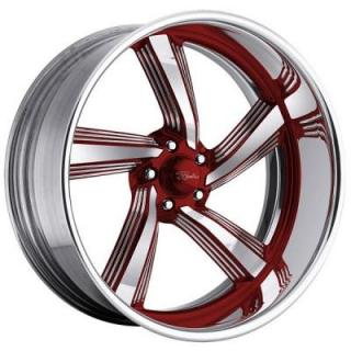 RACELINE WHEELS   EXPLOSION 5 RED with POLISHED FINISH