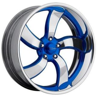 RACELINE WHEELS   DECEPTIVE 5 BLUE RIM with POLISHED FINISH