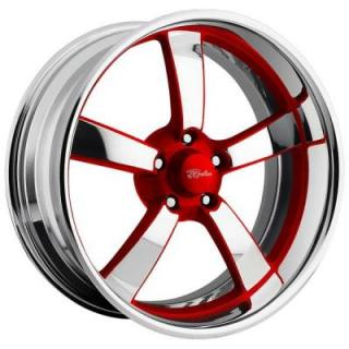RACELINE WHEELS   SPEEDSTER 5 RED RIM with POLISHED FINISH