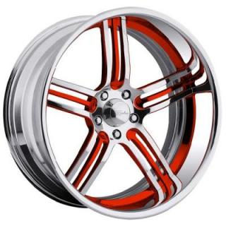 RACELINE WHEELS  IMPERIAL 5 RED RIM with POLISHED FINISH