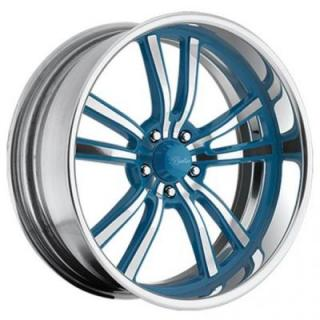 RACELINE WHEELS  STATIC 5 BLUE RIM with POLISHED FINISH