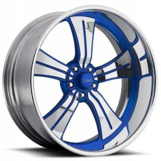RACELINE WHEELS   STATUS 5 BLUE RIM with POLISHED FINISH