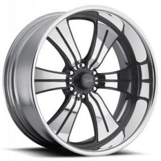RACELINE WHEELS  STATUS 6 GRAY RIM with POLISHED FINISH