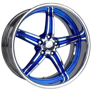 RACELINE WHEELS   SNIPER 5 BLUE RIM with POLISHED FINISH