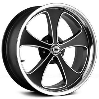 RIDLER WHEELS  STYLE 645 MATTE BLACK RIM with MACHINED FACE and POLISHED LIP