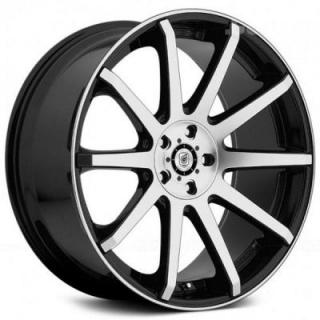 DROPSTARS WHEELS  643MB GLOSS BLACK RIM with MACHINED FACE and LIP EDGE