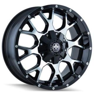 MAYHEM WHEELS  WARRIOR BLACK RIM with MACHINED FACE